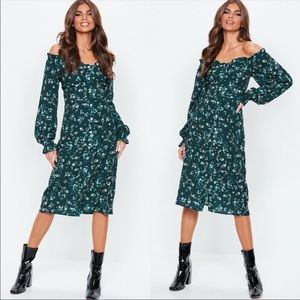 Missguided green floral long sleeve dress NWT